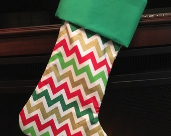 Ready to ship Christmas Stocking * red green gold chevron FREE SHIPPING
