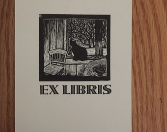 Ex Libris - Cat Book Plate - Original Print of Wood Engraving
