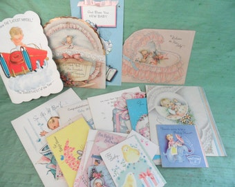 Retro baby card lot / over 25 vintage greeting cards, gift cards ,  used