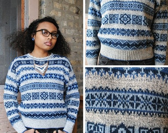 Blue and Grey Pullover Sweater