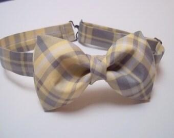 Ready to ship Grey Yellow Plaid Bow Tie-Grey Yellow Bow Tie-Grey Yellow Wedding Bow Tie-Grey Yellow Plaid-Groom's Bow Tie-Groomsmen Bow Tie