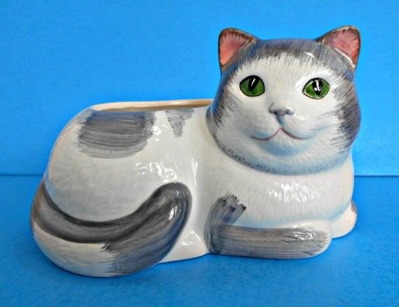 Gray And White Kitty Cat Planter Ceramic Garden Pot