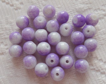 27  Lilac Purple & White Round Glass Beads  8mm
