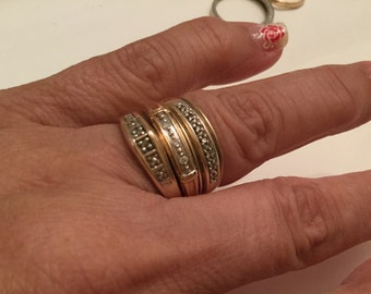 10k gold stacking rings with small diamonds - set of 3