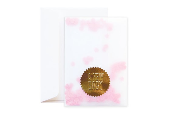 Confetti New Baby Girl Greeting Card (including envelope) // feat. Gold Embossed Sticker // Unique // Confetti party