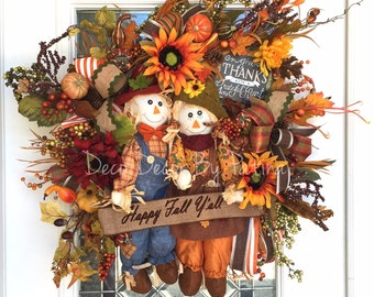 Fall Wreath - Fall Decor - Scarecrow Wreath - Scarecrow Decor - Thanksgiving Wreath - Autumn Wreath - Autumn Decor - Fall Decoration