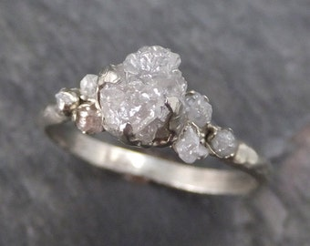 Raw Diamond White gold Engagement Ring Rough Gold Wedding Ring diamond Wedding Ring Rough Diamond Ring byAngeline 0121