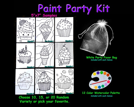 Predrawn Outline Themed Canvas Board For Kids Art Party