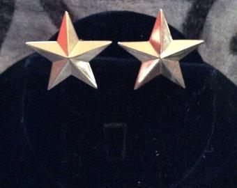 Star clip on earrings 1-1/4 in