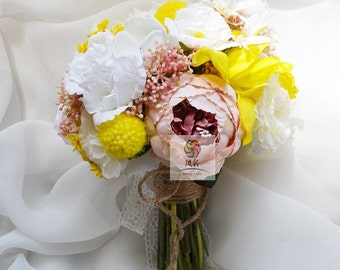 artificial flower wedding bridal bouquet vintage yellow white peony rose