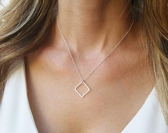 Silver necklace - Silver square necklace, Simple silver necklace, Dainty silver necklace, Minimalist geometric necklace, Fashion jewelry