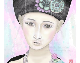 Chinese Achang Ethnic Costume - Fine Art Print - Beautiful Portrait, Drawing, Pink, Blue, China, Culture
