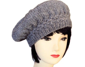 Women's Beret, Grey Hat, Grey Beret, Wool Alpaca Hat, Knitted Beret, Edwardian Hat, Handmade Hats for Women, Clothing, Sue Maun