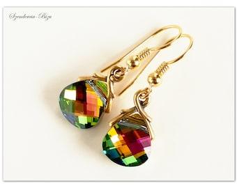 Gold-plated Silver earrings, Swarovski Elements, Flat Briolette 11mm, Vitrail Medium,Vitrail earrings,Briolette earrings,Swarovski Briolette