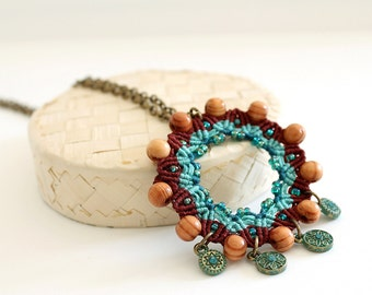 Boho ethnic necklace dream catcher inspired in macrame with beads and charms brown aqua green