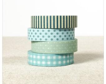 Blue Patterns Washi Tape Set 4pk - Classiky