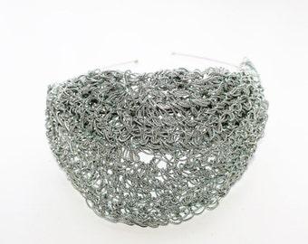 Silver crochet headband