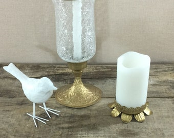 Vintage Brass Collection Candleholder Paired W Candlholder Glass Hurricane
