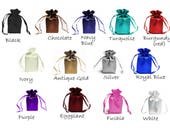 SATIN SELECT COLOR custom list -  6x9 inch drawstring bags gift favor party, bridal Black Chocolate Navy Blue Turquoise