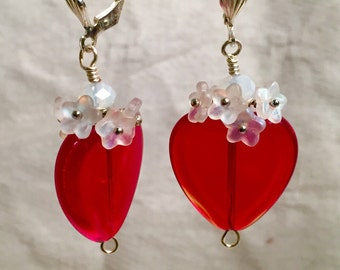 Ruby red heart, Red heart earrings, Valentines jewelry, hearts and flowers, Valentines jewels