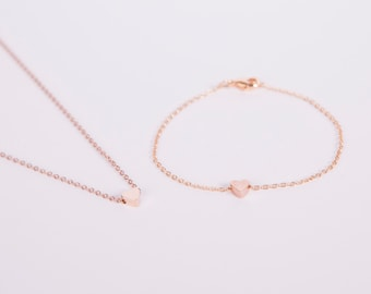 Set Rosegolden Necklace And Bracelet  Rosegold Heart Love Chain Hearts Rose Gold Plated Chain Gold Plated Perl Heartbead Bead