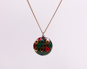 Necklace Photo Locket Minimal Print Triangle Colourful Shapes Medaillon