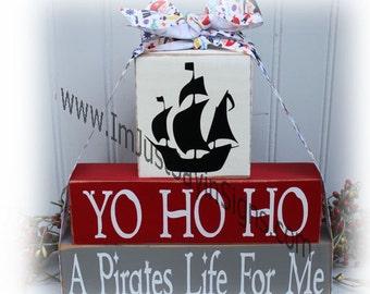 Yo Ho Ho A Pirates Life For Me Wood Stacking Blocks
