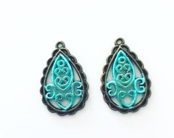 Teardrop Filigree Charms, filigree patina charms, boho charms, bohemian, gypsy, USA Charms
