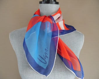 Vintage 1970s Red, White and Blue Verasheer Scarf by Vera