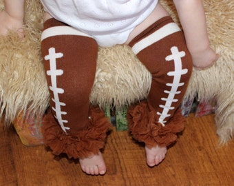 Football Leg Warmers, Brown Chiffon Ruffles, Baby Leg Warmers, Girls Legwarmers,Toddler Leggings, Ruffled Football Leggings,Knit Leg Warmers