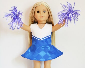 """Handmade Doll Clothes Cheerleader Outfit Blue Poms Fits 18"""" American Girl Dolls 2"""