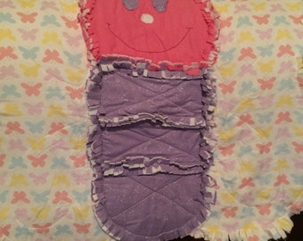 Butterfly Rag flannel Baby Blanket Quilt - Pink & Purple Throw