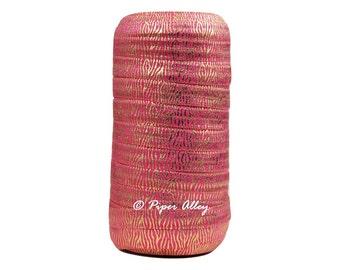 """FOE Gold Foil Zebra Print on Shocking Pink - 5/8"""" Fold Over Elastic for DIY Headbands 5 yards"""