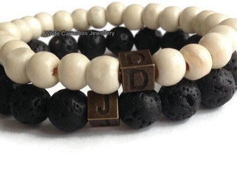 Black Lava Stone bracelet, Mens Personalised bracelets, Men's initial bracelet, Black lava rock bracelet, stone bracelets men