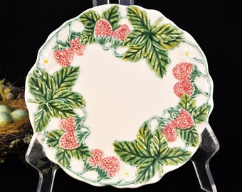 Antique Majolica Plate, Over 100 pc. in our Shop, Vintage majolica strawberry plate, majolica pottery
