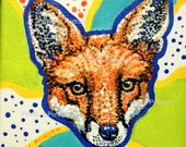 RED FOX Portrait - Hand painted - Original- Signed