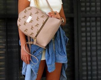 School bag, leather backpack, horse bag, pink bag