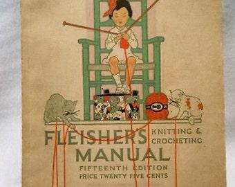 Original Edwardian Fleisher's Manual Knitting and Crocheting Book Magazine, c. 1917