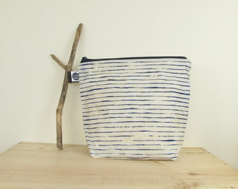 Large stripy was-bag in stripy navy, made with hand prepared waxed canvas, screen printed by hand