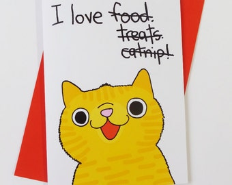 I love you Funny Silly Ginger Cat Love Card Valentines Card Valentine Card