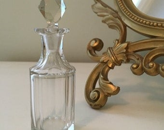 Vintage Glass Perfume Bottle with Crystal Stopper Vintage Vanity Home Decor
