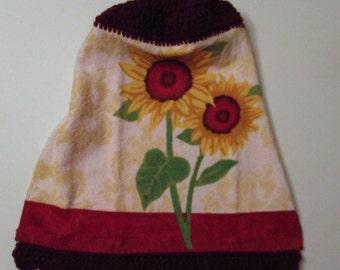 Sunflower Crochet Top Hanging Kitchen Towel