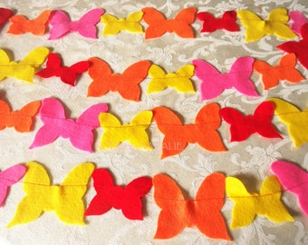 Red, Orange, Yellow, and Hot Pink Felt Butterfly Garland