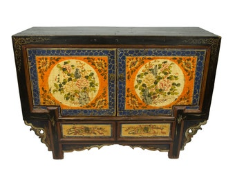 Antique Chinese Storage Credenza in Distressed in Blue and Orange (Los Angeles)