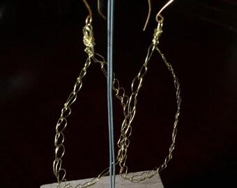 Brass chandelier earrings lightweight and delicate