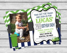 Garbage Truck Happy Birthday Invitation - Navy Stripes, Lime Green Chevron & Gray, Black White accents - Party Packs Available