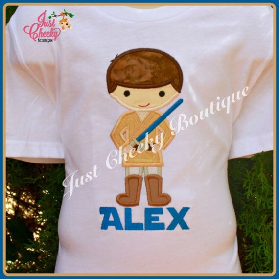 Luke Skywalker - Lightsaber - Star Wars Inspired - Kids Embroidered Shirt - Force Friday Shirt - Star Wars Birthday Shirt
