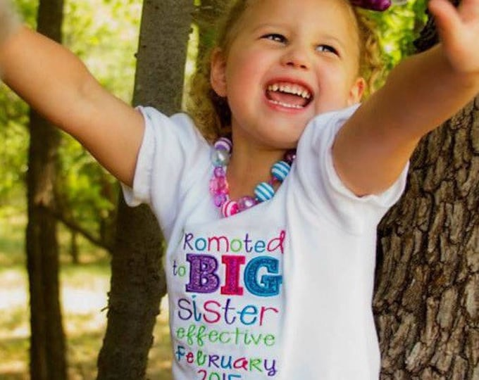 Promoted to Big Sister Embroidered Shirt - Big Sister - Sibling Shirt - Pregnancy Announcement - Big Sister To Be