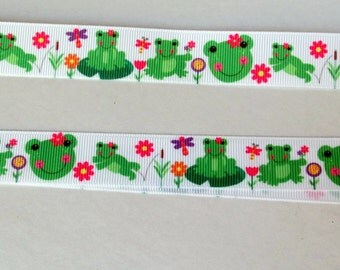 44-Tropical  Frogs Grosgrain Ribbon - 7/8 inch wide x 3 or 5 yards| Girly frog friends  | frog frolics