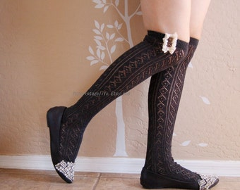 Beautiful Charcoal long socks with cute lace, boots socks.  long socks, gift for her,Brithday gift